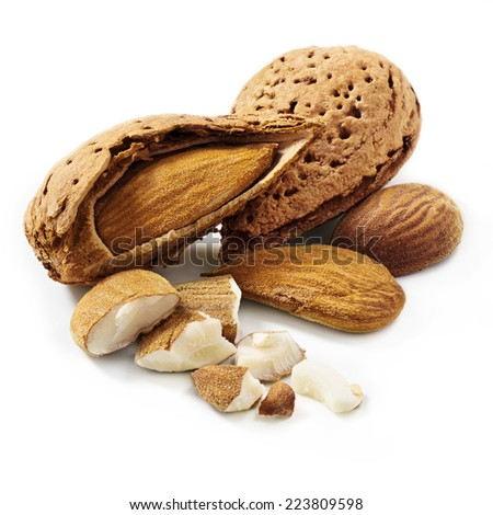 Almonds, shelled almonds on white background - stock photo