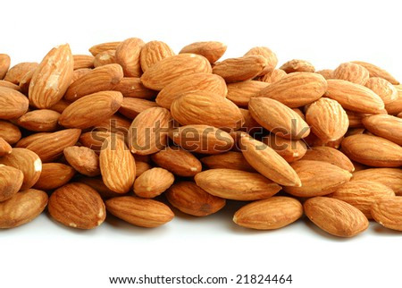 Almonds studio isolated on white background