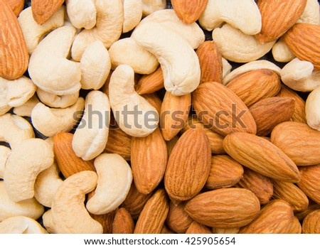 Almonds with cashew - stock photo