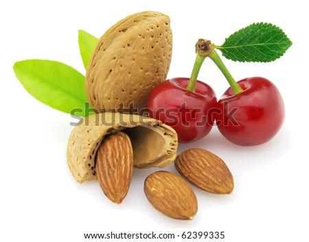 Almonds with cherry - stock photo