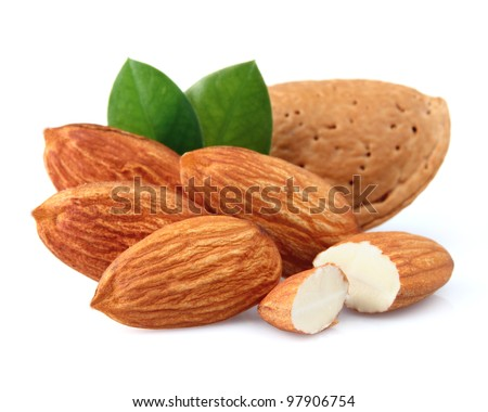 Almonds with kernels. Use it for a health concept. - stock photo