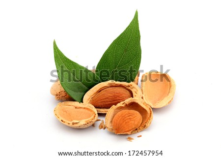 Almonds with leaves isolated on white  - stock photo