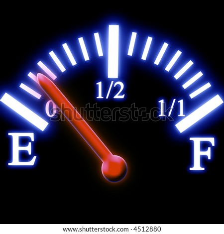 Almost empty fuel tank meter - stock photo