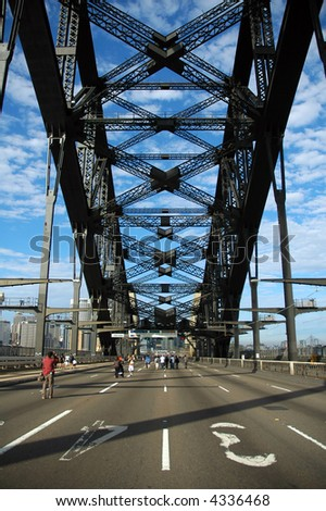 almost empty harbour bridge during sydney marathon - stock photo