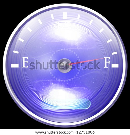 Almost full gas tank on a solid black background - stock photo