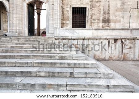 Almost graphical composition of marble stairs at the side entrance of the Blue Mosque, Sultanahmet, considered to be the last great mosque of the classical period, Istanbul, Turkey