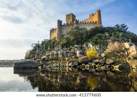 Almourol castle - impressive castle of templars. Portugal - stock photo
