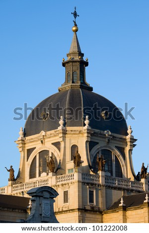 Almudena Cathedral (Cathedral of Saint Mary the Royal of La Almudena) dome in Madrid, Spain