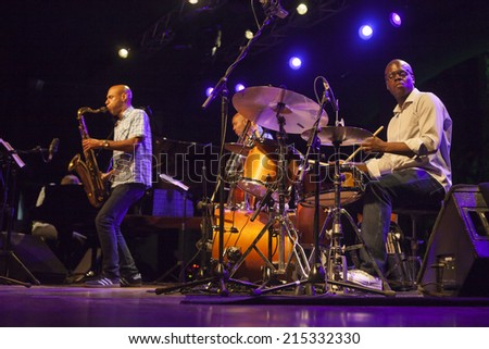 ALMUNECAR, GRANADA / SPAIN - JULY 21, 2014: Joshua Redman Quartet playing live music, at XXVII international jazz festival of Almunecar, Jazz in the Cost. Joshua Redman, sax, and G. Hutchinson, drums.