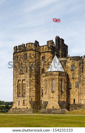 ALNWICK, ENGLAND - JULY 14:  Alnwick castle in Northumbria, northern England is pictured on July 14, 2013.  The castle has been used as a setting in many films including the Harry Potter films.