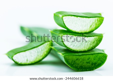 Aloe on green leaf - stock photo