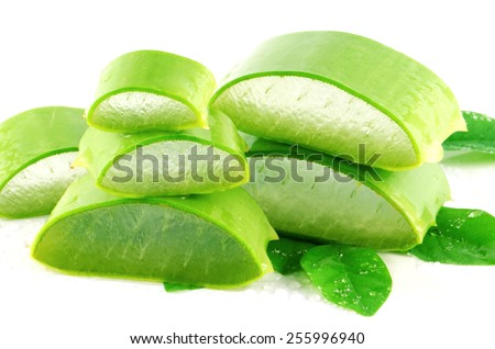Aloe Vera (Aloe barbadensis Mill.,Star cactus, Aloe, Aloin, Jafferabad or Barbados) a very useful herbal medicine for skin treatment and use in spa for skin care. - stock photo