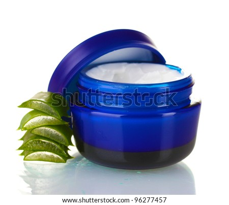 Aloe vera and cream isolated on white