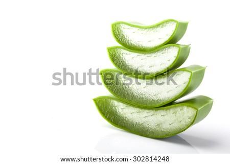 Aloe Vera fresh leaf isolated on white background - stock photo