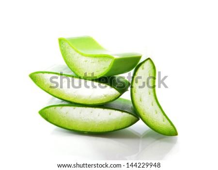 aloe vera fresh leaf isolated white background - stock photo