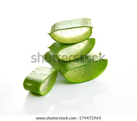 aloe vera fresh leaf isolated white background, - stock photo