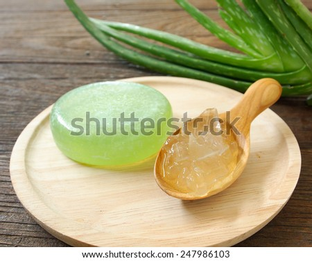 Aloe vera gel is used to make soap.