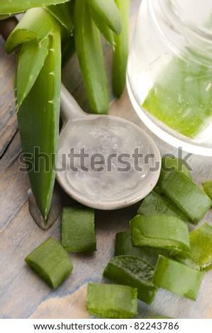 aloe vera juice with fresh leaves - stock photo