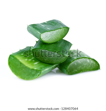 aloe vera leaf and slices isolated on white background - stock photo