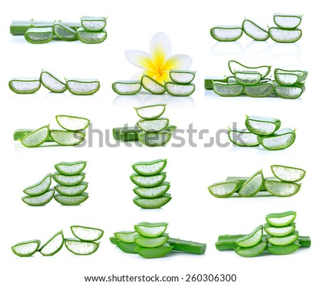 aloe vera leaf isolated white background - stock photo