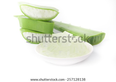aloe vera on white background - stock photo