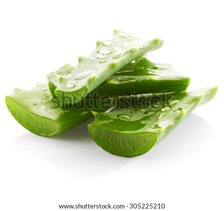 Aloe vera with drops of water isolated on white background - stock photo
