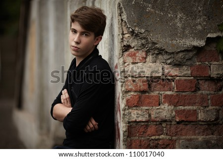 alone man. outdoor portrait - stock photo