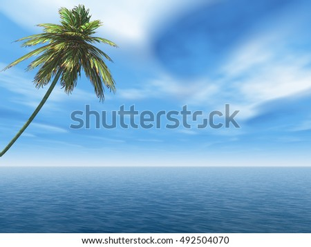 Alone palm  Tree at sea beach.3D rendering;