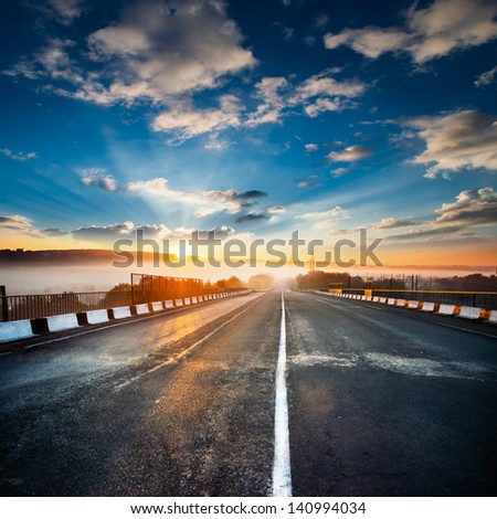 along in the road - stock photo