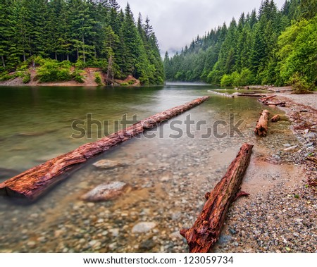 Along the shores of Alouette lake on a calm misty morning. - stock photo
