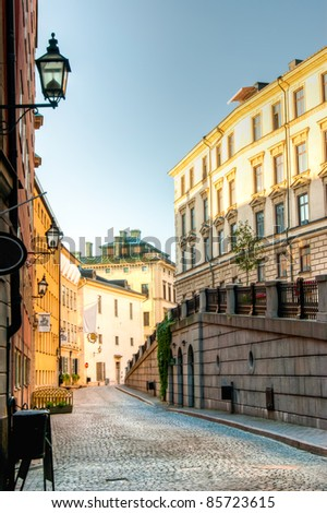 Along the streets of The Old Town (Gamla Stan) in Stockholm, Sweden