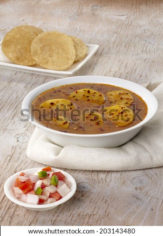 Aloo Raswala, Aloo sabji, Indian food - stock photo