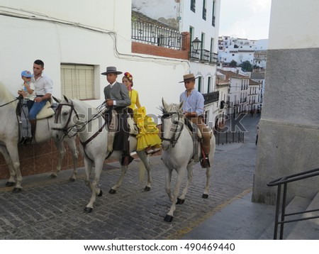 Alora, Spain - September 11, 2016: Alora Romeria where People celebrate the fiesta of their patron saint