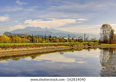 Alouette River in an Autumn morning - stock photo