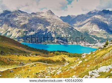 Alp Surlej, mountain and beautiful lake at St.Moritz, Switzerland - stock photo