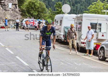 ALPE D'HUEZ, FRANCE, JUL 18:The Spanish cyclist Ruben Plaza Molina from  Movistar Team climbing the difficult road to Alpe-D'Huez, during the stage 18 of  Le Tour de France on July 18 2013