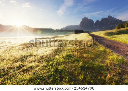 Alpe di Siusi at sunny morning, Dolomites mountains, Italy - stock photo
