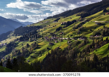 Alpen mountain landscape, spring season. Austria, Europe. - stock photo