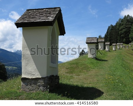 Alpen mountains, Austria - traditional mountains village - stock photo