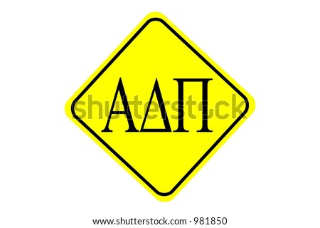 Alpha Delta Pi yellow diamond sign isolated on a white background - stock photo