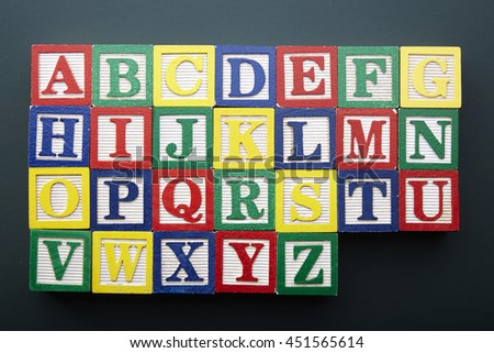 alphabet a to z on the blackboard