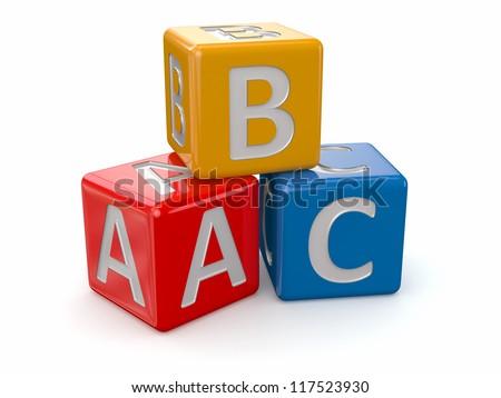 Alphabet. ABC blocks cube on white background. 3d - stock photo