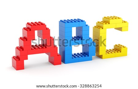 Alphabet ABC letters made of toy building blocks isolated on white background. Back to school and education concept.
