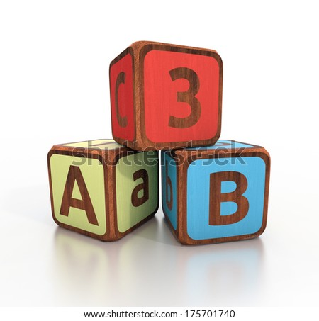 alphabet and numbers - ABC cubes on a white background - stock photo