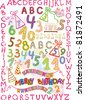 alphabet and numbers in a fun children's style. elements for a children's holiday. raster version. - stock photo