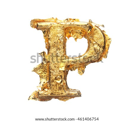 Alphabet and numbers in rough gold leaf isolated on white