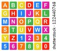 Alphabet Baby Blocks Letters and Numbers set on a white background - stock photo
