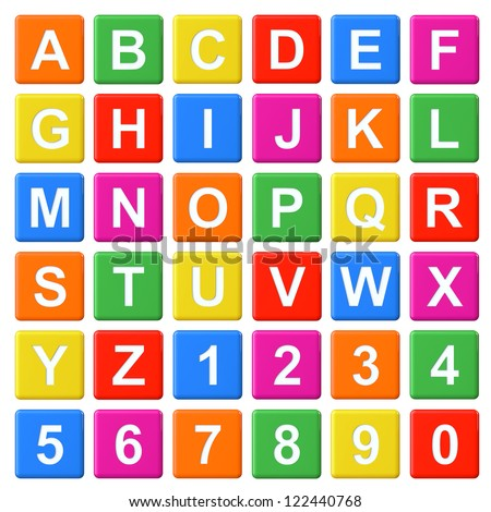Alphabet Baby Blocks Letters and Numbers set on a white background
