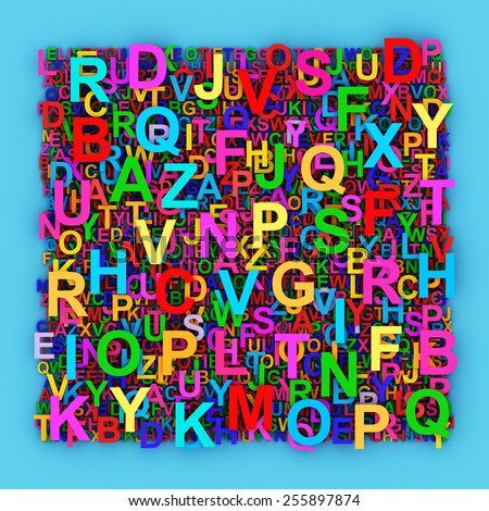 Alphabet background with mixed colorful letters.  - stock photo