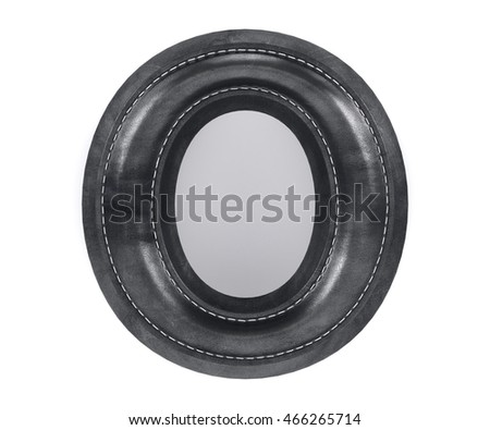 Alphabet black leather skin texture capital letter O. Isolated on white background. 3d rendering illustration